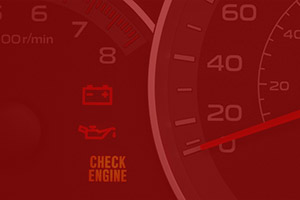 Picture of a car's check engine light on